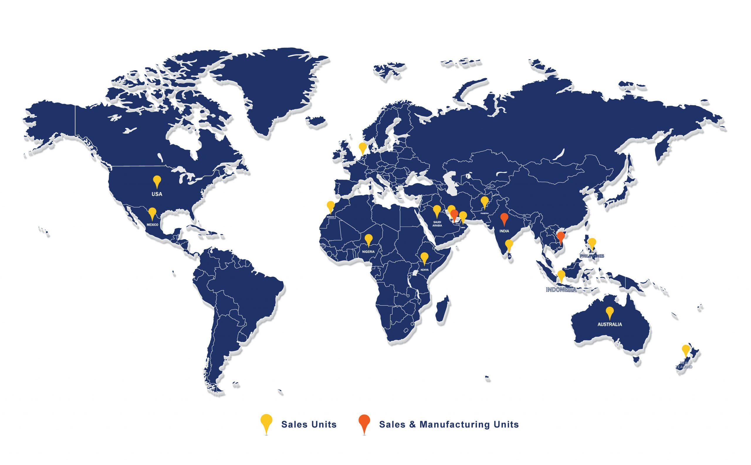 Aerofoam Global Map